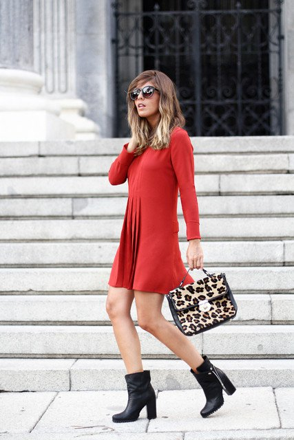 Pretty-Red-Dress-Outfit-with-Black-Boots