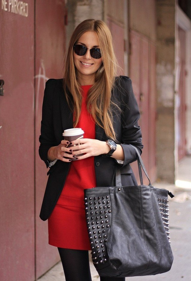 Red-Dress-with-Black-Jacket-for-Valentines-Day